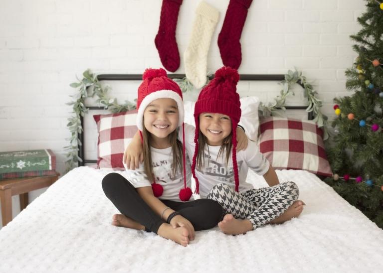 Sibling Pose for San Antonio Christmas Studio Mini Session Photo