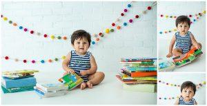 San Antonio Milestone Photographer Captures Baby Jaxson With Books For First Birthday Session