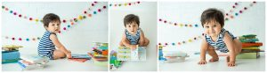 Baby Boy Taking Pictures With Books For Milestone Photoshoot